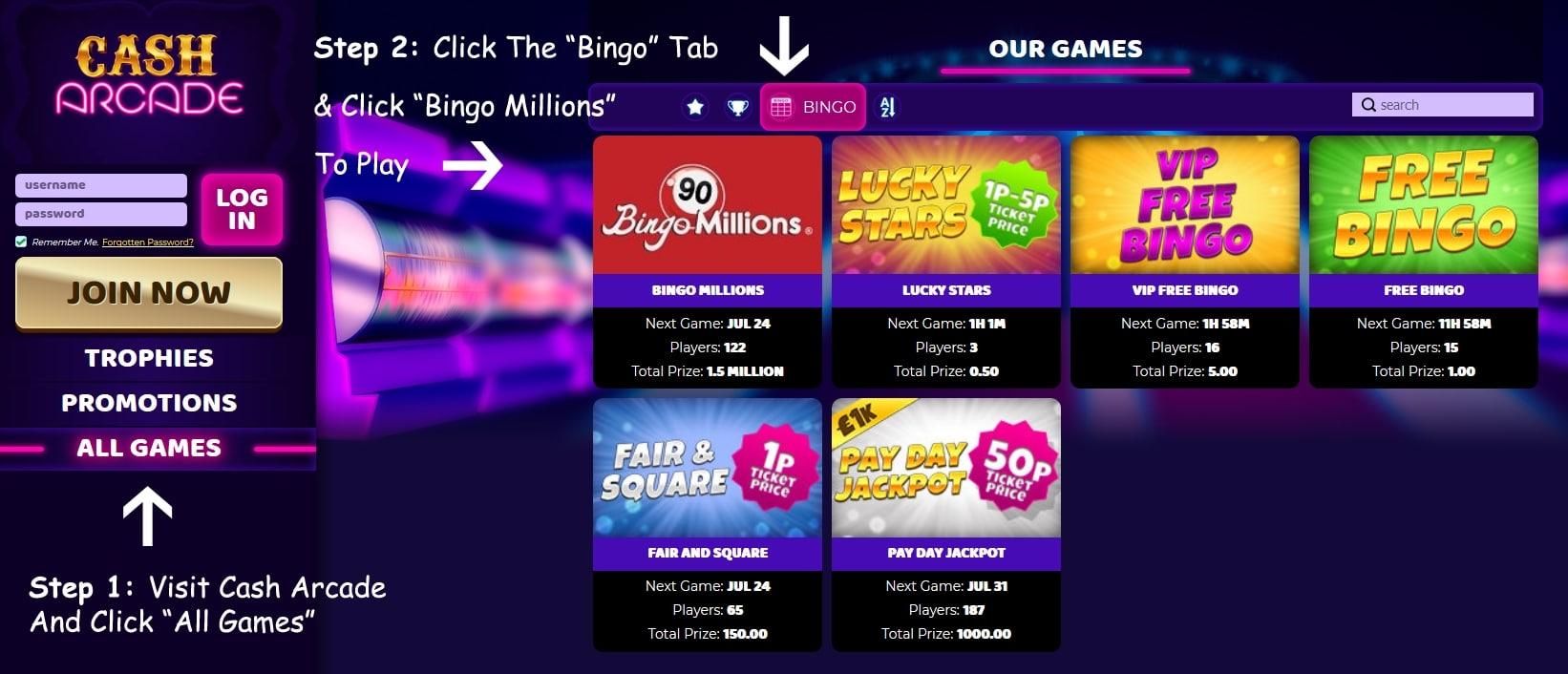 Cash Arcade Bingo Offer