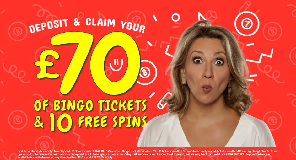 £70 of bingo tickets and 10 free spins