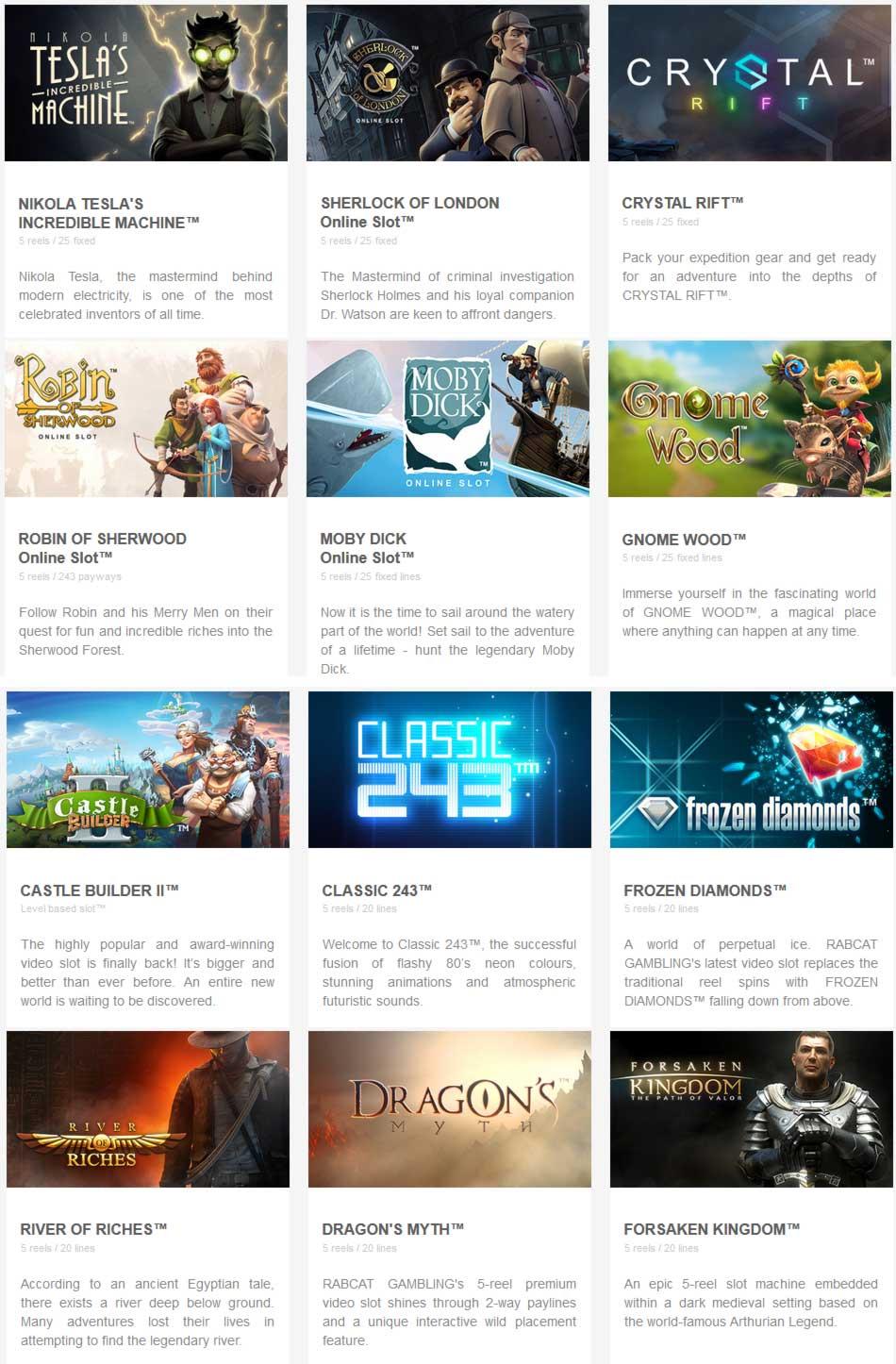 Rabcat Games List