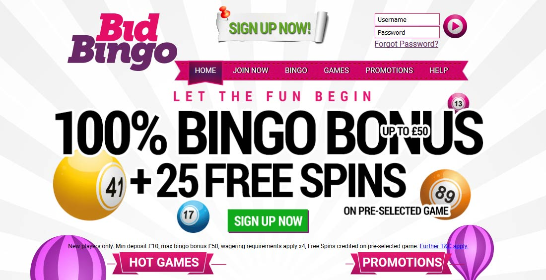 Bid Bingo Welome Offer Bonus Code
