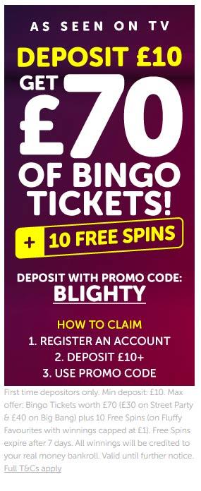 Blighty Bingo Welcome Offer Bonus Code