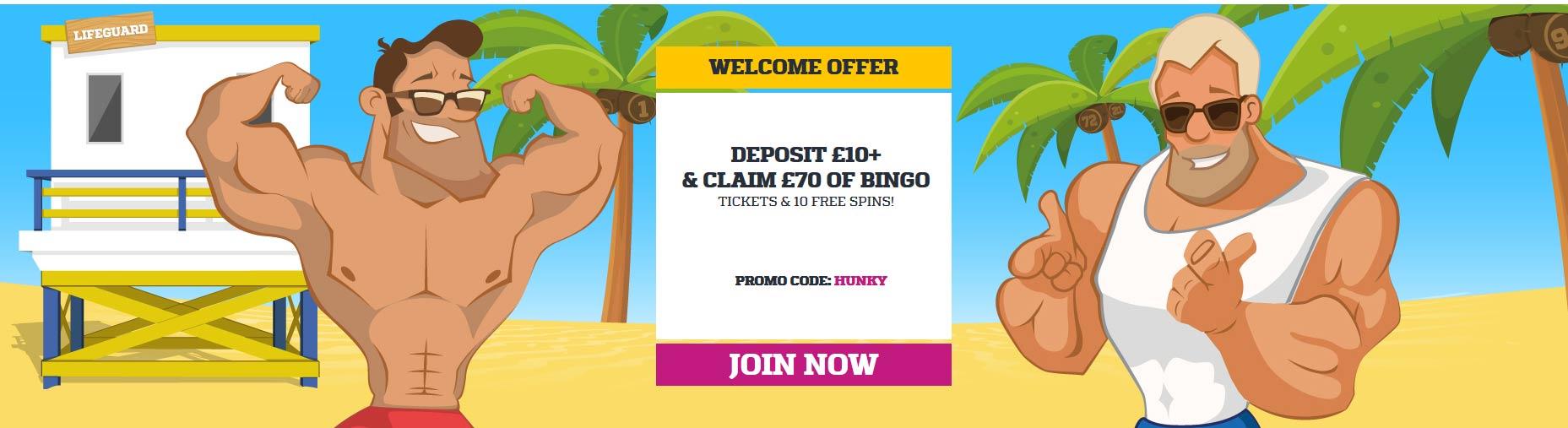 Hunky Bingo Welcome Offer