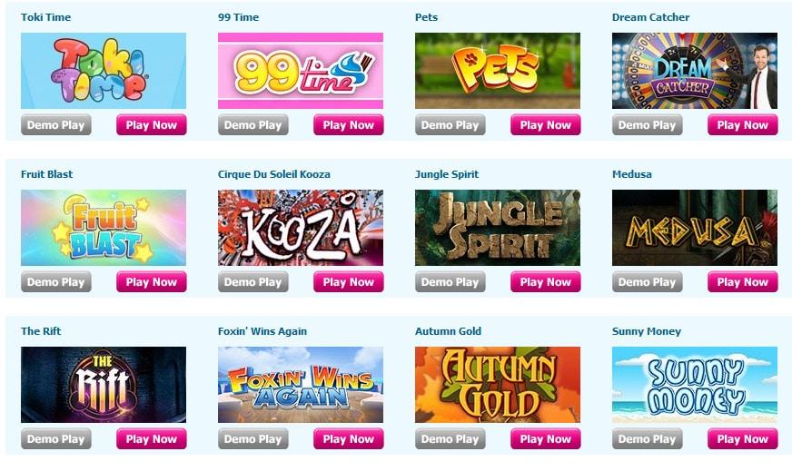 Games and slots by Moon Bingo and Dragonfish