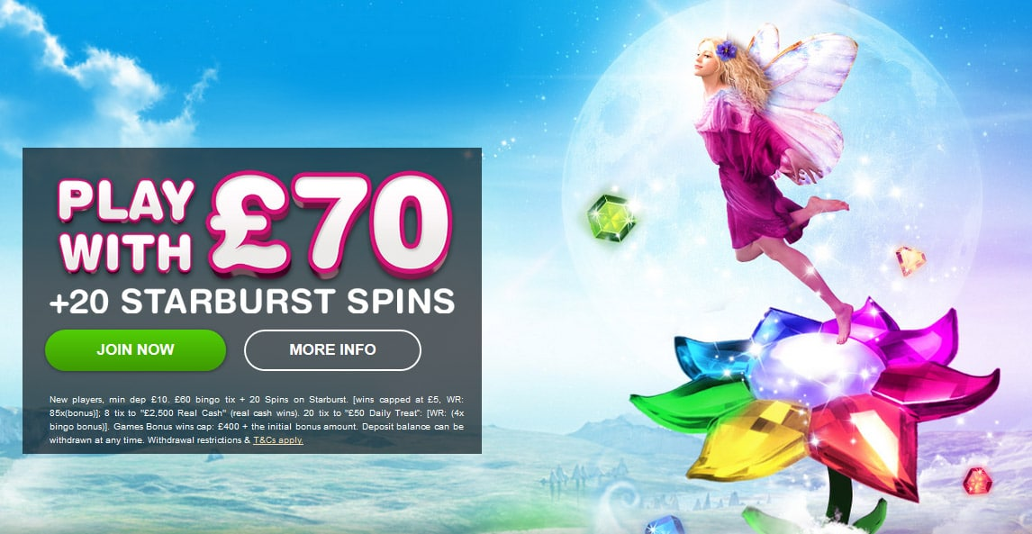 Moon Bingo Welcome Offer Bonus Play with £70