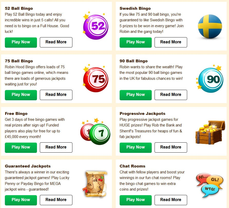 Bingo Games by Robin Hood Bingo and Dragonfish