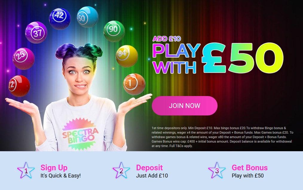 Spectra Bingo Welcome Offer Bonus